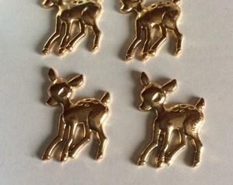 Kawaii gold bambi charms cabochons