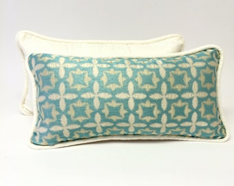 Turquoise Lumbar Pillow with Large Welting, Contemporary Rectangle Toss Pillow, Designer Accent Pillow, Handmade Toss Pillow!, P 13 108