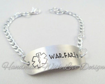 Medical ID Chain Bracelet - Warfarin handstamped