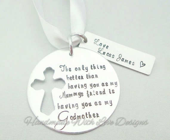 Christening, Godmother, present Hand stamped Decoration