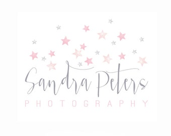 Watercolor Logo -  Watermark Business Logo - Stars, Newborn, Drawn, Artistic, Unique, Nature, Simple Design, Starry, paint, Photography