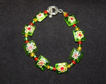 Green Millefiori bracelet