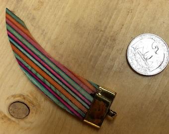 "NEW! Wood ""Horn"" Pendants with Brass Cap & Ring, Boho Trendy Tribal Ethnic Pendant Charm-SHP0815"