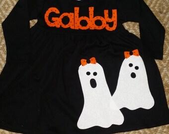 Halloween Dress-Ghost Appliqué Dress-Personalized girl's ghost appliqué dress-you choose size and sleeve length