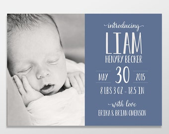 Custom Digital Baby Boy or Baby Girl Photo Birth Announcement - New Baby - PRINTABLE or Printed - Blue Typography Baby Announcement - Jaxson