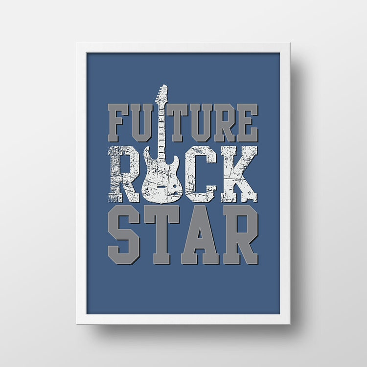 future rock star baby nursery print by splendidstreetpress. Black Bedroom Furniture Sets. Home Design Ideas