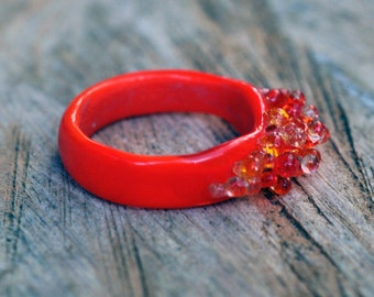 Lampwork Ring - Fashion Ring - Orange Ring - Glass Ring - Flamboyant Ring - Summertime Ring