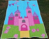"Custom Made to Order Appliqué Princess Castle Quilt Crib Lap Size 43"" x 58"""