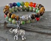 set of 2 Buddha Bracelet,Chakra bracelet, Tiger's eye bracelet,elephant bracelet,meditation bracelet, mala beads,tibetan bracelet,protection