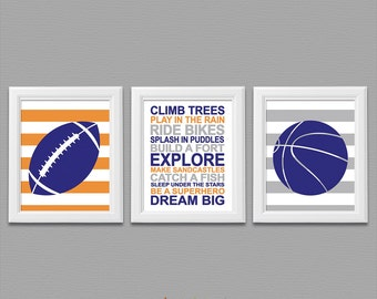 Royal blue and orange baby boy Nursery Art Print Set -  boy rules, ball, gray, typography, basketball, football, dream big  -UNFRAMED