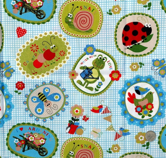 Fabric children 39 s novelty fabric garden theme on blue for Kids novelty fabric