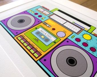 Boombox Blue A4 Print