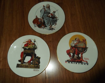 """Three """"Norman Rockwell"""" Gorham Christmas Plates, 1978,1979,and 1980 series."""