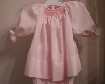 Smocked baby dress, baby, infant, bishop, diaper cover set