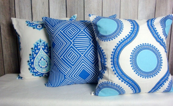 Throw Pillow. Cobalt Blue Pillows. Cobalt Aqua Pillow. Pillow Covers. Royal Blue Pillow. Cobalt Cushion Covers