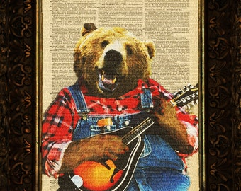 Music Bear Hoedown on Antique Dictionary Page, art print, Wall Decor, Wall Art Mixed Media Collage, gift
