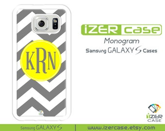 Personalized Monogrammed Samsung Galaxy S6 Case, Galaxy S5 Case, Galaxy S4 Case, Galaxy S3 Case. Gray Chevron with Yellow