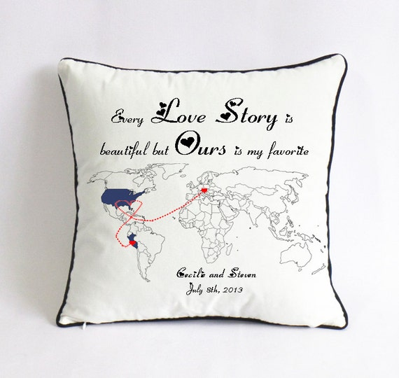 long distance love story pillowsham world map pillow by. Black Bedroom Furniture Sets. Home Design Ideas