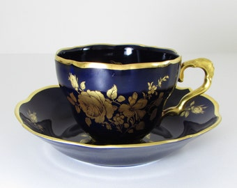 Lindner Cup and Saucer Floral Bouquet Echt Cobalt Blue Gold Rose Flowers Kueps Bavaria Germany Teacup