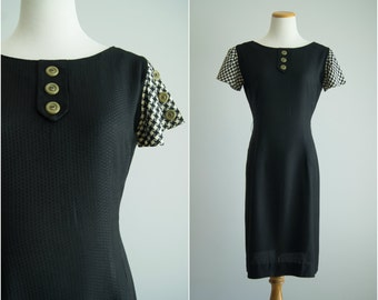 vintage 1960s dress / 60s black wiggle dress / vintage black dress / medium / Dirty Martini Dress
