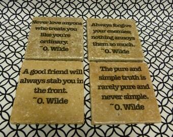 Oscar Wilde Quotation Marble Tile Coasters - Set of 4
