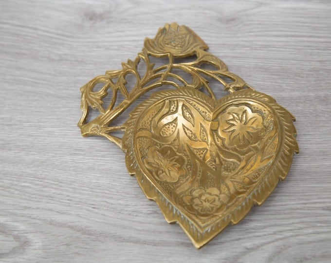 Brass Heart Jewelry Tray for Earrings, Rings, Necklaces / Vintage Ornate Floral Change Bowl