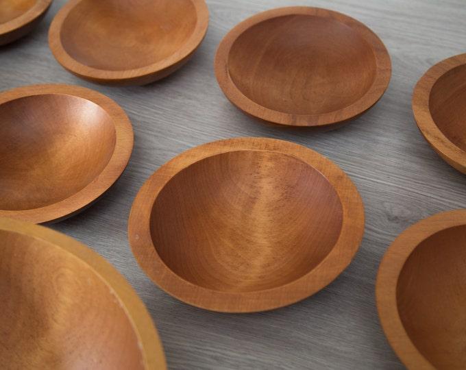 Wood Salad Bowls / 1960's Vintage Solid Maple Wood Baribocraft Appetizer Bowl / Food Safe Serving Dish / Hand Carved Hardwood Tray