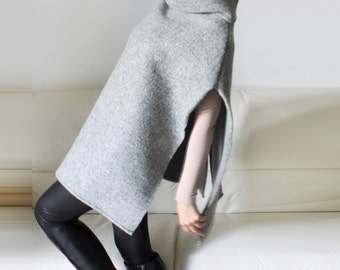 Wool poncho, Gray stand collar cape, open sides wool poncho, gift for her