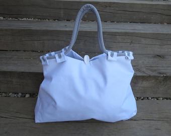 SALE, White Canvas Bag, Grey Round Handles, Tote, Beach Bag, Shopping Bag, Summer Bag