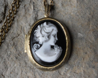 """CAMEO LOCKET-- Victorian Woman Portrait Cameo - Hand Painted -  2"""" long--- Bronze - Antique Look--- Great Quality!!"""