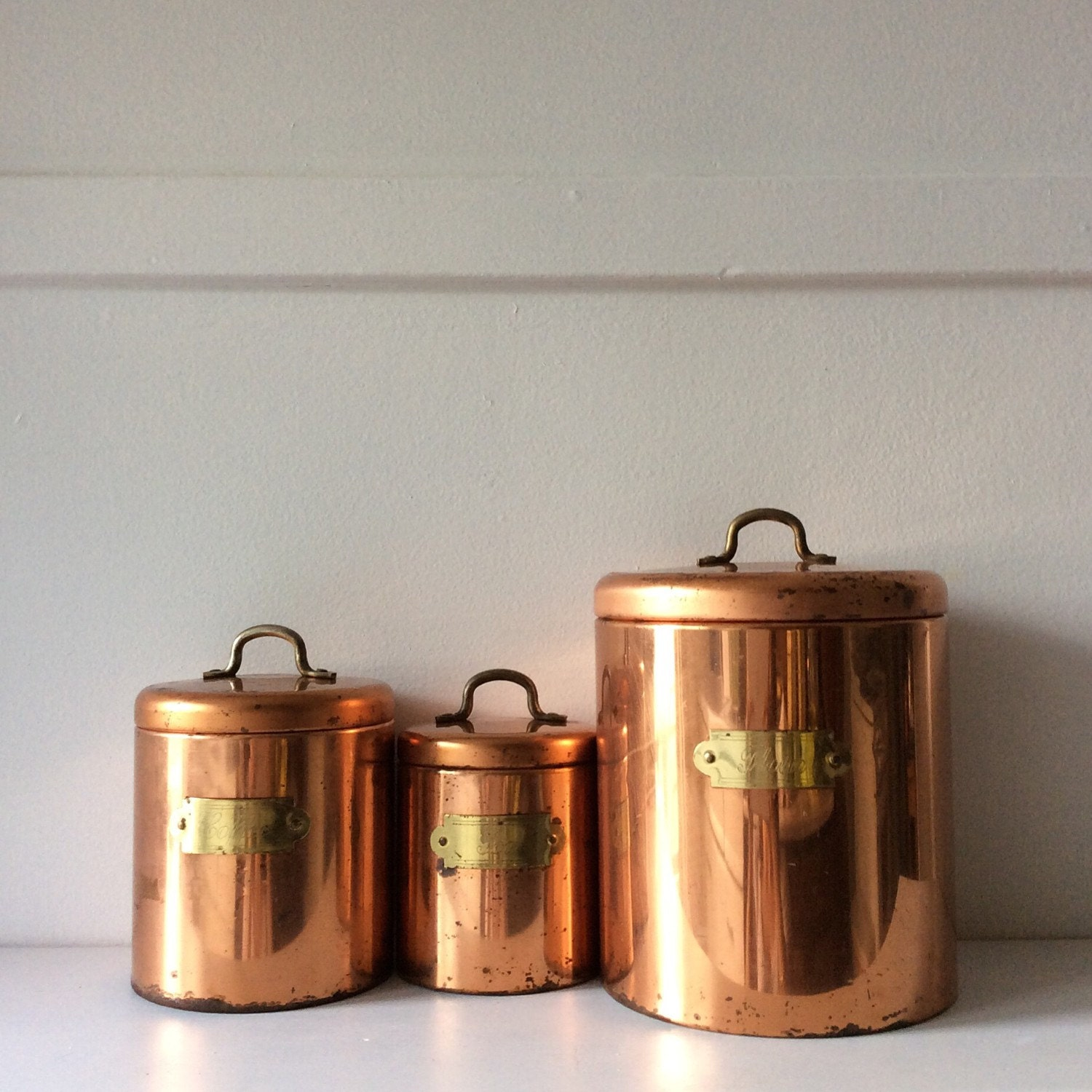 vintage copper kitchen canisters coffee canister tea