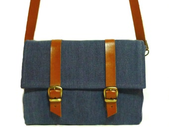 Jean Canvas and leather Bicycle Bag/ demin canvas and leather bike bag