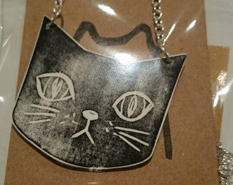 Black Cat necklace, shrink plastic, original design.