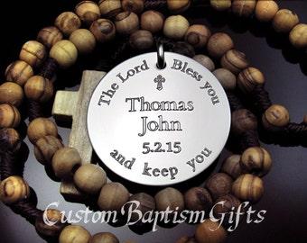 Personalized Rosary, Baptism Rosary, Baptism Rosary Boy, Baptism Gift Godparents, Catholic Rosary Personalized Boy Baptism Custom