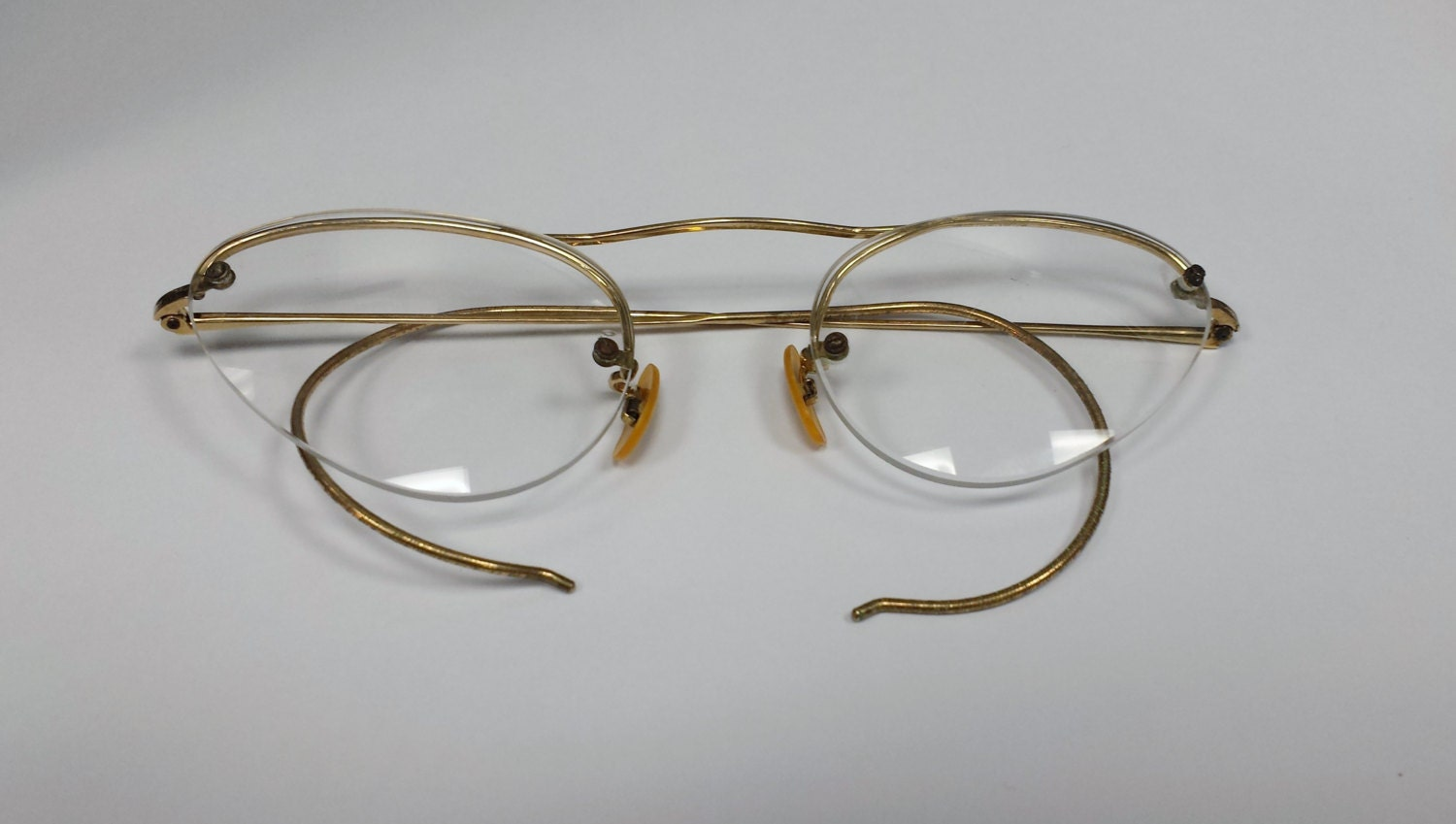 Vintage Yellow Gold Filled Eyeglass Frames with by ...