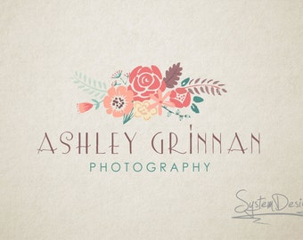 Photography logo, Flower logo, Text logo, Premade logo