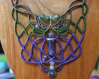 """Macrame necklace """"Breath of the Goddess"""" with 925 sterling silver Amethyst point"""