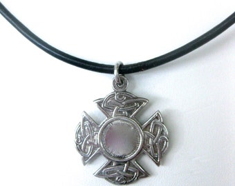 Antique Sterling Silver Medal on Leather Choker