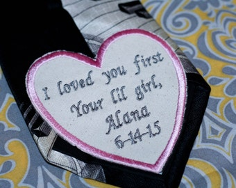 One Iron on wedding tie patch, Grooms iron on tie patch, father of the bride embroidered tie patch, father of the groom