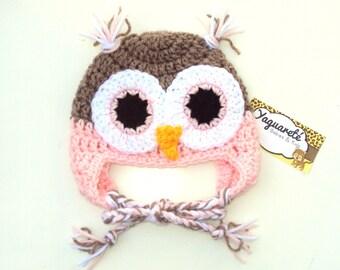 Pink Owl baby hat - Crochet owl hat