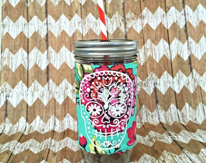 Sugar Skull and Floral 24oz Mason Jar Tumbler - Travel Mug Great Gift