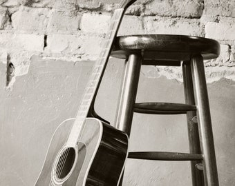 Black and White Guitar and Stool, Music Photography