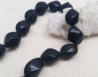 Black Coral Twist Beads 55gr/str. 13x19mm - 23 pcs.