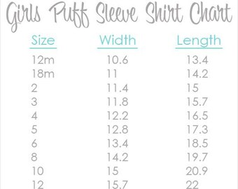 "Girl's Puff Sleeve Size Chart - Visual Information Only  **PLEASE DON""T PURCHASE**"