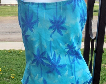 Blue Swimsuit, Hawaiian Swimsuit, Large Swimsuit, Size 11/12, 80s Swim, Bathing Suit, Unique Beach Wear, Epsteam