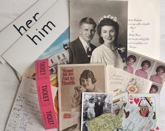 Treasure Bag of Fun Epherema, Wedding Photo, Postcards