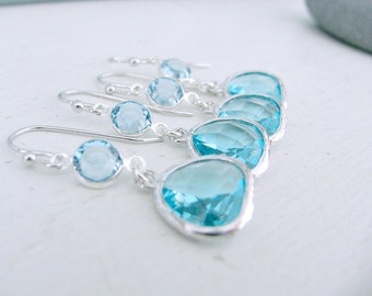Silver Aquamarine Earrings Bridesmaid sets Aquamarine Earrings Swarovski Crystal Earrings Aquamarine jewelry Beach Wedding march birthstone