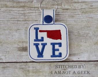 Oklahoma LOVE  - In The Hoop - Snap/Rivet Key Fob - DIGITAL Embroidery Design