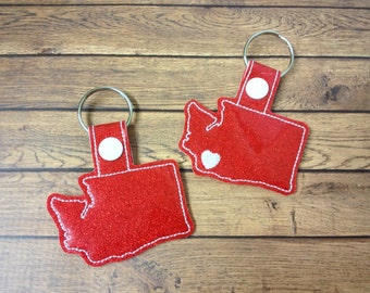 WASHINGTON -  Heart for the City - In The Hoop - Snap/Rivet Key Fob - DIGITAL Embroidery Design