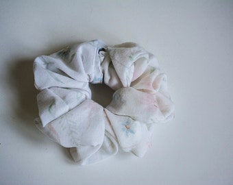White Floral Scrunchie